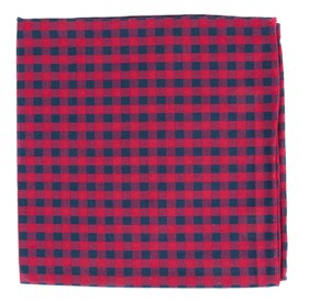 Gingham Shade Apple Red pocket square