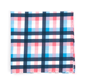 Pink Acoustic Check pocket square