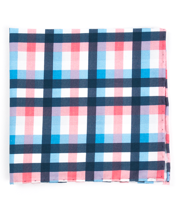 Acoustic Check Pink Pocket Square