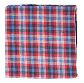 Steel Checks Apple Red pocket square