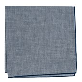 Pocket Squares - Denim Chambray Pocket Square With Border - Navy