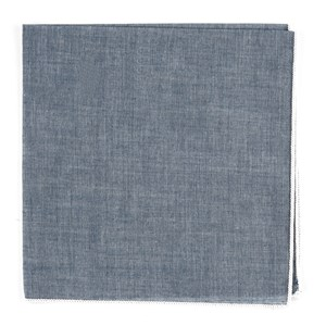 denim chambray with border white pocket square
