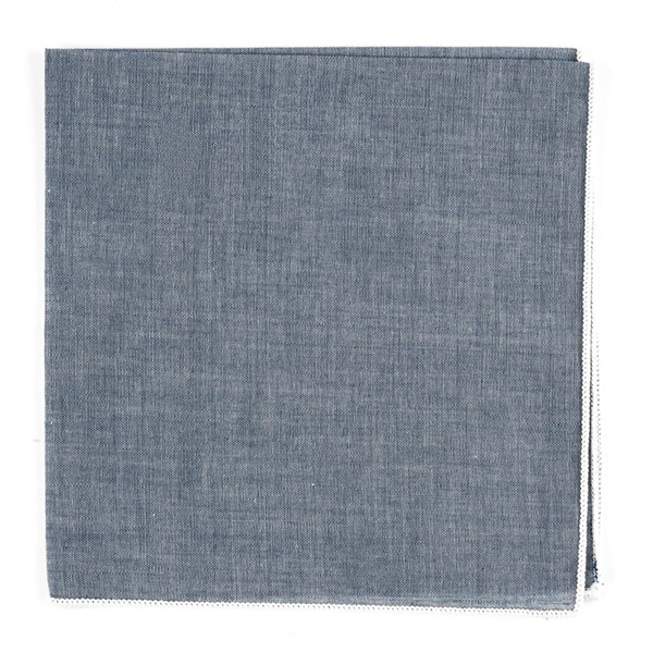 White Denim Chambray With Border Pocket Square