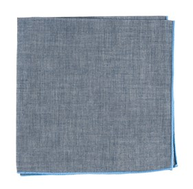 Light Blue Denim Chambray With Border pocket square