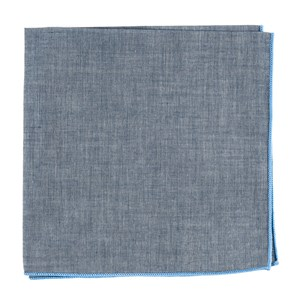 denim chambray with border light blue pocket square