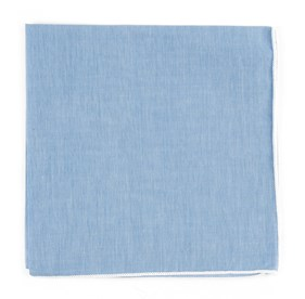 Sky Chambray With Border White pocket square