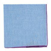 Pocket Squares - Sky Chambray Pocket Square With Border - Orchid