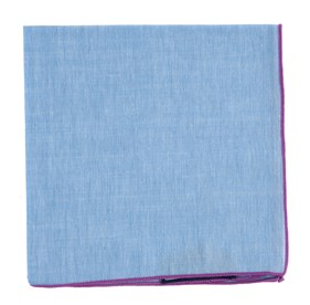 Sky Chambray With Border Orchid pocket square