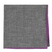 Pocket Squares - Grey Chambray Pocket Square With Border - Orchid
