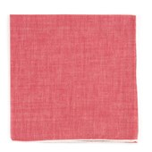 Pocket Squares - Red Chambray Pocket Square With Border - White