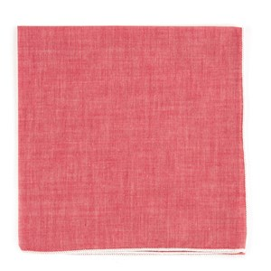 red chambray with border white pocket square