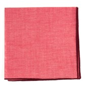 Pocket Squares - Red Chambray Pocket Square With Border - Burgundy