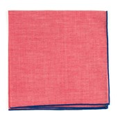 Pocket Squares - Red Chambray Pocket Square With Border - Royal Blue