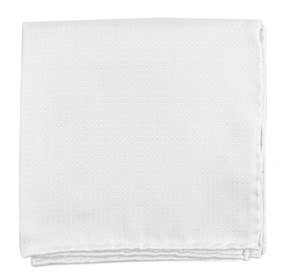White Cotton Pindot pocket square