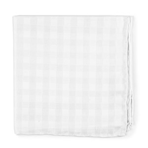 cotton checks white pocket square