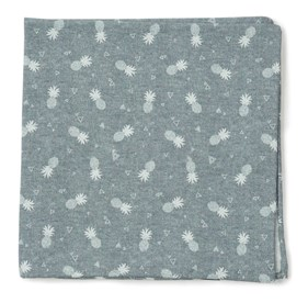 Grey Pineapple Toss pocket square