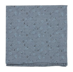 Stamped Flowers Dark Blue pocket square
