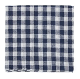 Navy Trellis Plaid pocket square