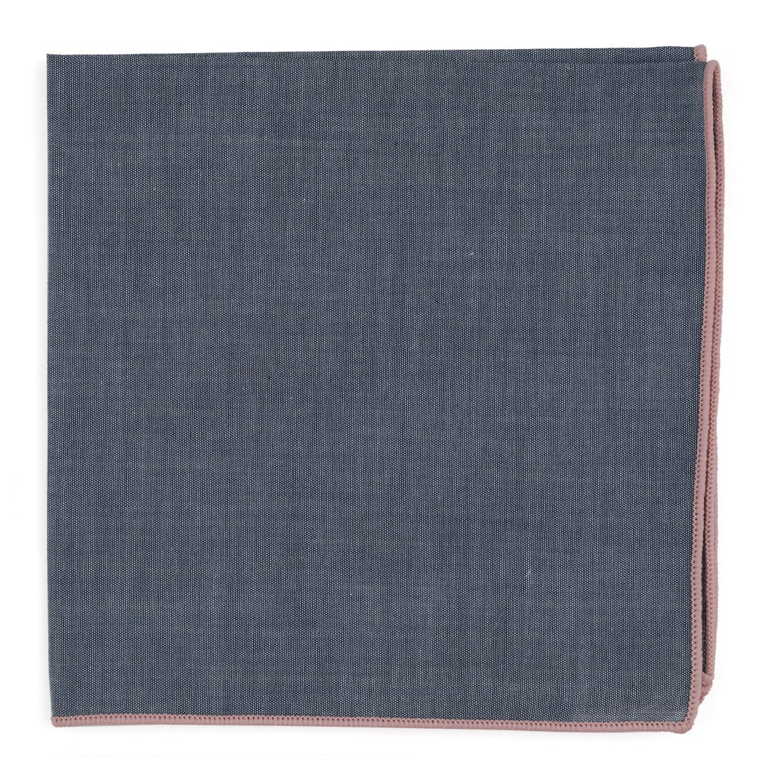 "Bhldn Denim Chambray With Border - Blush Pink - 13"" x 13"" - Pocket Squares"