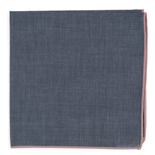 Bhldn Denim Chambray With Border Blush Pink Pocket Square