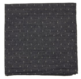 Charcoal Studded Cotton Geo pocket square