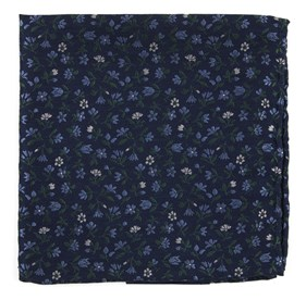 Navy Floral Acres pocket square