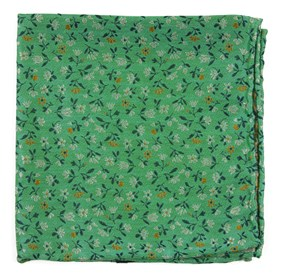 Mint Floral Acres pocket square
