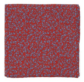 Persimmon Red Floral Webb pocket square