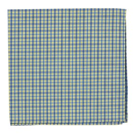 Yellow WHITE COLLAR PLAID pocket square