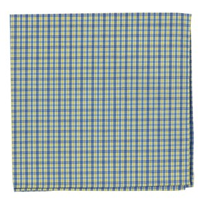 white collar plaid yellow pocket square