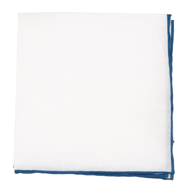 Slate Blue White Linen With Rolled Border Pocket Square