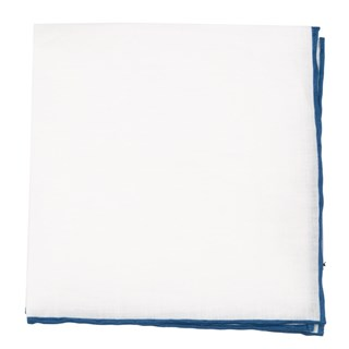 White Linen With Rolled Border Slate Blue Pocket Square