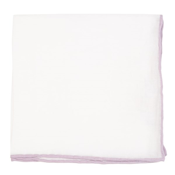 White Linen With Rolled Border Mauve Stone Pocket Square