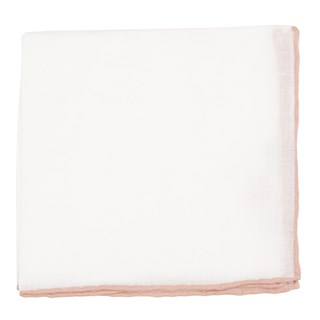 white linen with rolled border rose quartz pocket square
