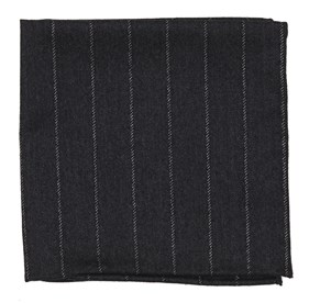 Black Wool Suiting pocket square