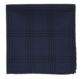 Navy Brace Plaid pocket square