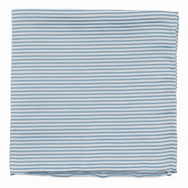 Steel Blue Mumu Weddings - Coastal Stripe Pocket Square