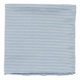 Mumu Weddings - Coastal Stripe Steel Blue Pocket Square