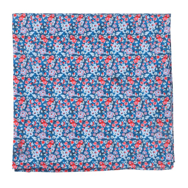 Navy Freesia Floral Pocket Square