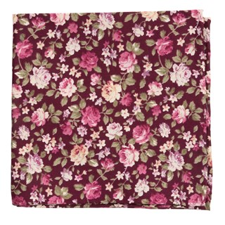 moody florals burgundy pocket square