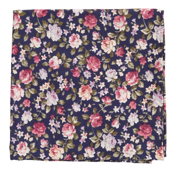 Navy Moody Florals Pocket Square