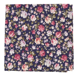 Moody Florals Navy Pocket Square