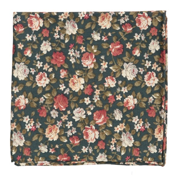 Green Moody Florals Pocket Square