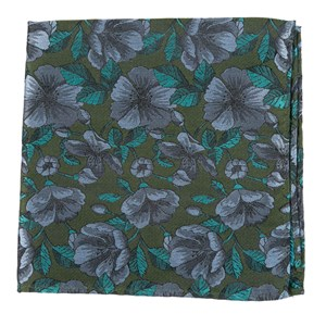 monarch floral olive green pocket square