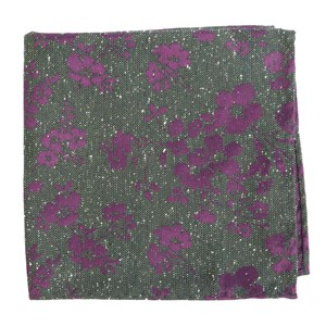 onyx floral hunter green pocket square