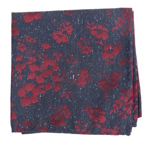 onyx floral navy pocket square