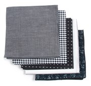 POCKET SQUARES - BASIC BLACK PACK - BLACK