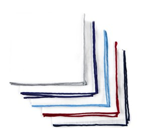 White Basic Colored Border Pack pocket square