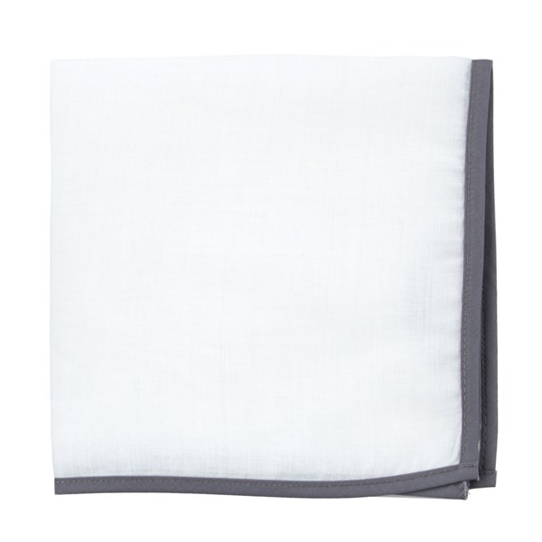White Linen With Border Charcoal Pocket Square