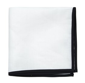 White Linen With Border Black pocket square
